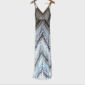 LAGACI Boho Maxi Dress Blue White Chevron Stripe M